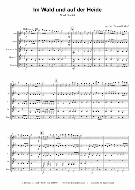 Im Wald und auf der Heide - German March/Octoberfest - Wind Quintet