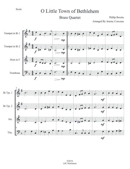 O Little Town of Bethlehem for Brass Quartet