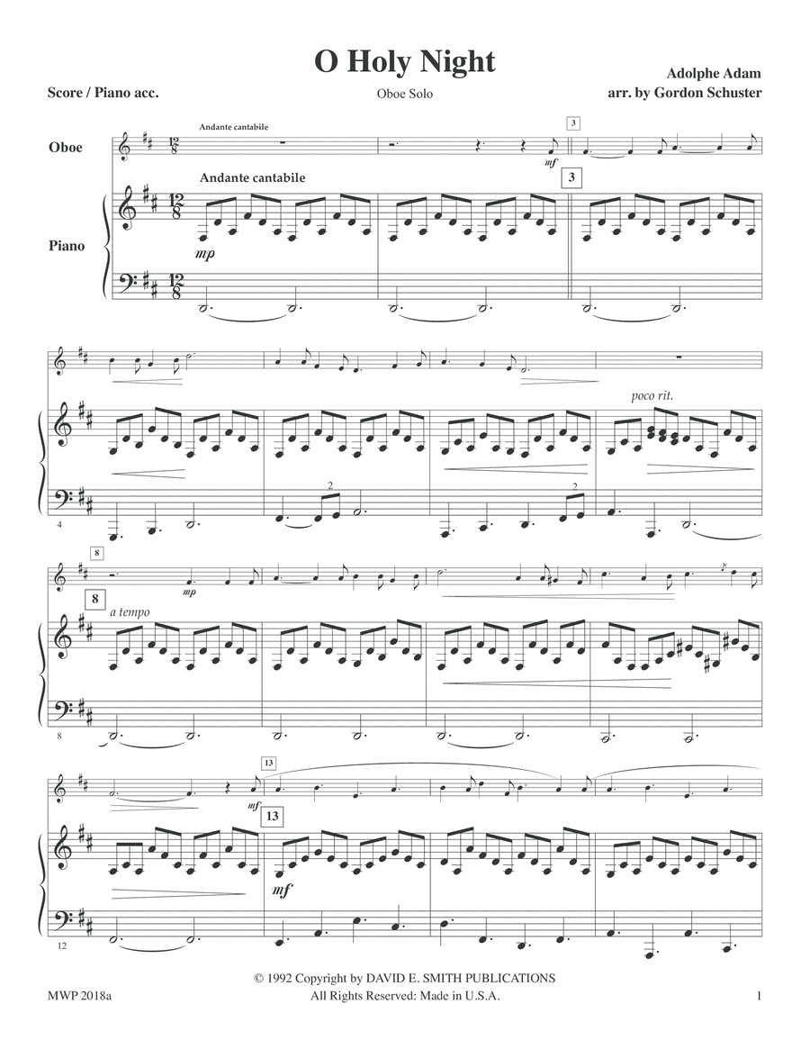 Three Christmas Solos - Oboe, Vol. 1