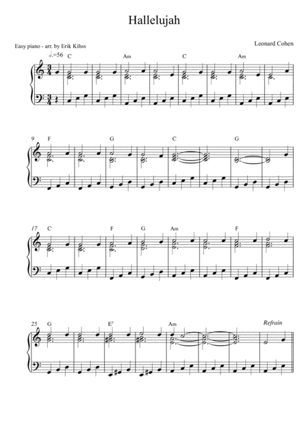 Hallelujah - easy piano (2 arrangements)