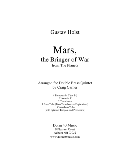 Mars, the Bringer of War, from