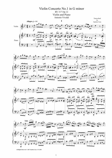 Vivaldi - Violin Concerto in G minor RV 317 Op.12 No.1 for Violin and Piano