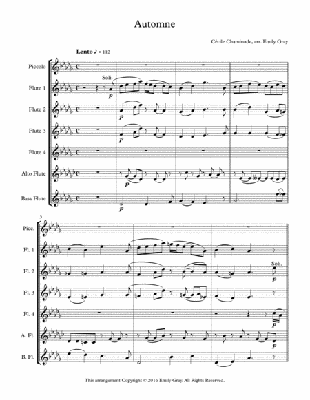 Automne for Flute Choir (Score)
