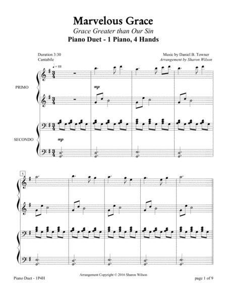 Marvelous Grace (1 Piano, 4 Hands Duet)