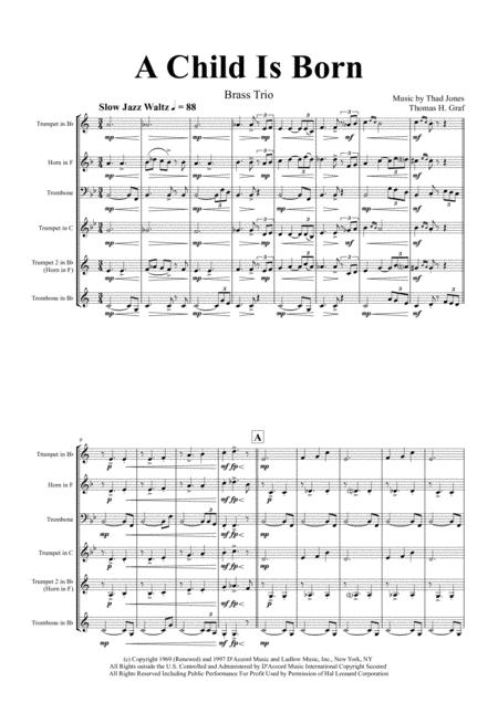 A Child Is Born - Christmas Jazz Waltz by Thad Jones - Brass Trio