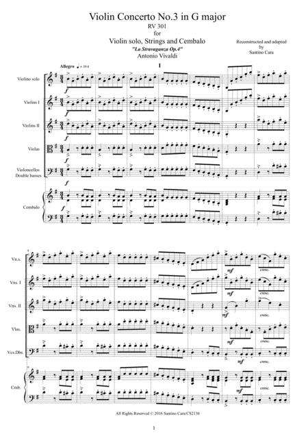 Vivaldi - Violin Concerto No.3 in G major Op.4 RV 301 for Violin solo, Strings and Cembalo