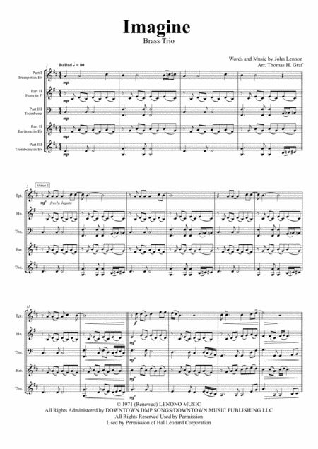 Imagine - John Lennon's Classic - Brass Trio