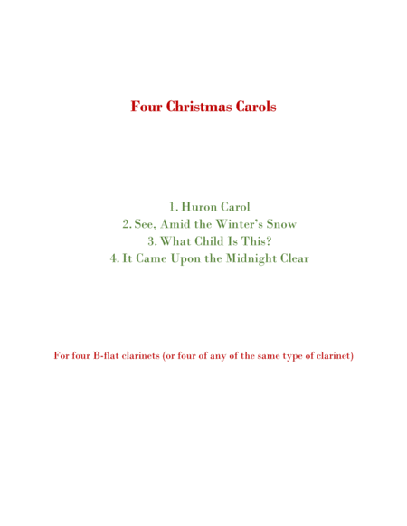 Four Christmas Carols for Four Clarinets