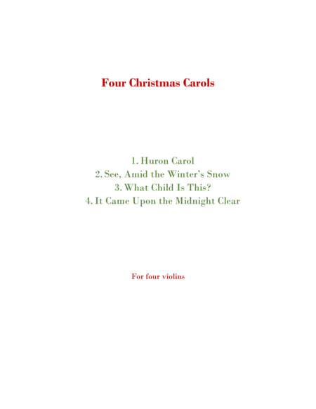 Four Christmas Carols for Four Violins