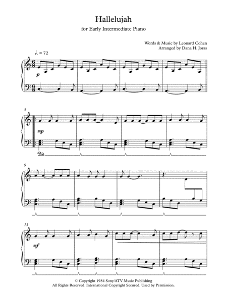 Hallelujah for Early Intermediate Piano
