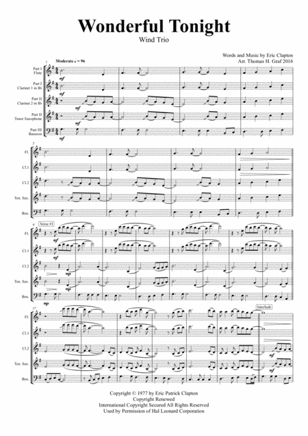 Wonderful Tonight - Eric Clapton - Wind Trio