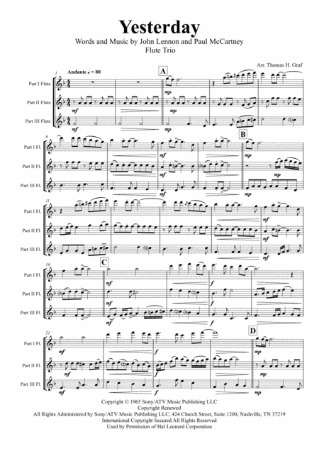 Yesterday - Beatles Classic - Flute Trio