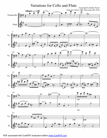 Variations for Cello and Flute Duet