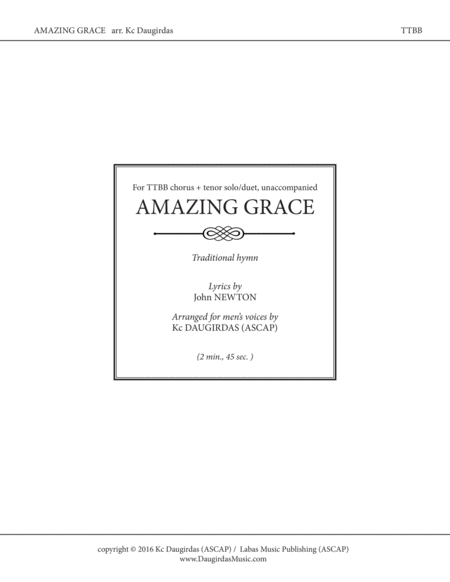 Amazing Grace [TTBB chorus + soloists]
