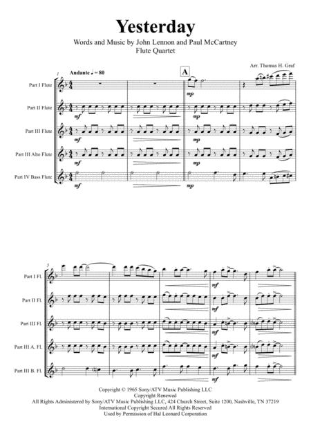 Yesterday - Beatles Classic - Flute Quartet