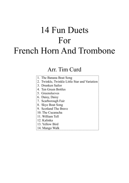 14 Fun Duets For French-Horn And Trombone