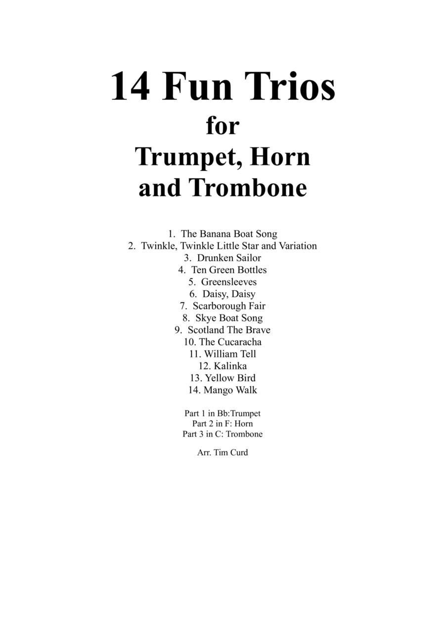 14 Fun Trios For Trumpet, French Horn And Trombone