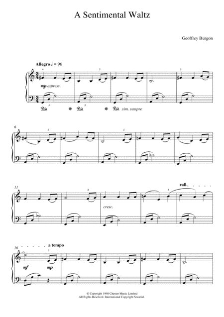Sentimental Waltz (From 'Nine Easy Pieces For Piano')