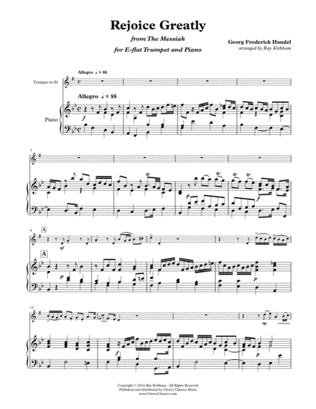 Rejoice Greatly from The Messiah for Trumpet and Piano