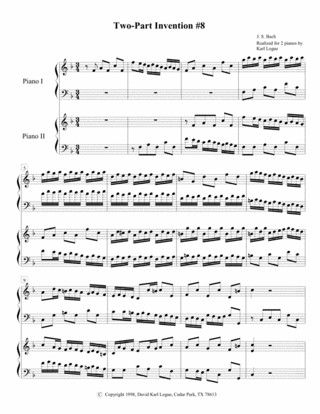 Two-part Invention #8 by J. S. Bach
