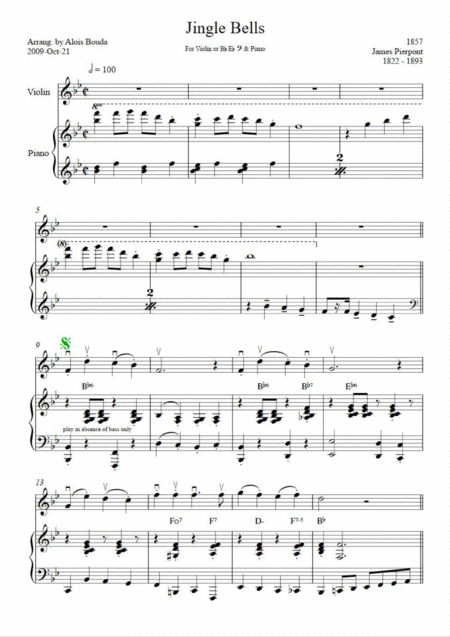 Jingle Bells (easily swinging solo & piano)