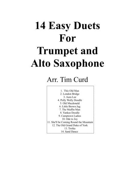 14 Easy Duets For Trumpet And Alto Saxophone.