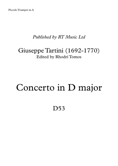 Tartini Trumpet Concerto in D major D53 - solo parts