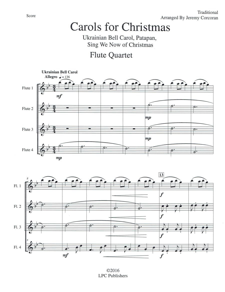 Carols for Christmas a Medley for Flute Quartet