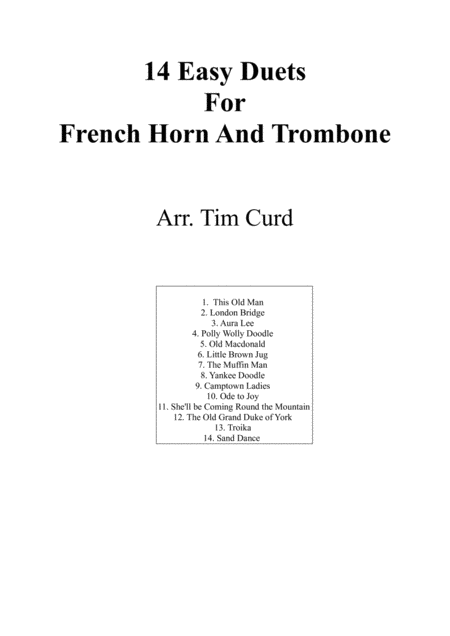 14 Easy Duets For French Horn And Trombone