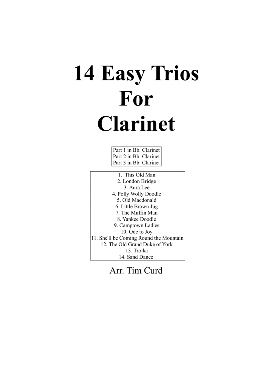 14 Easy Trios For Clarinet