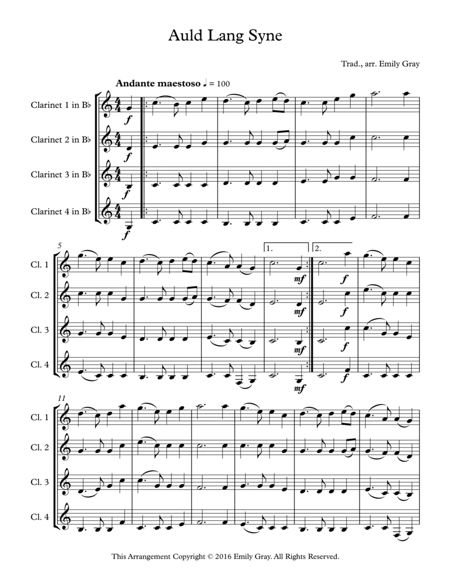 Auld Lang Syne (4 Clarinets)