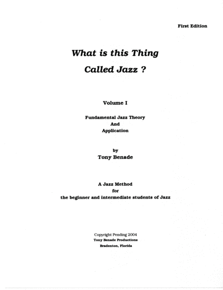 What Is This Thing Called Jazz? Vol.I