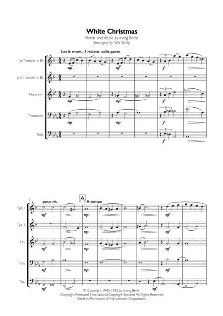 White Christmas for Brass Quintet