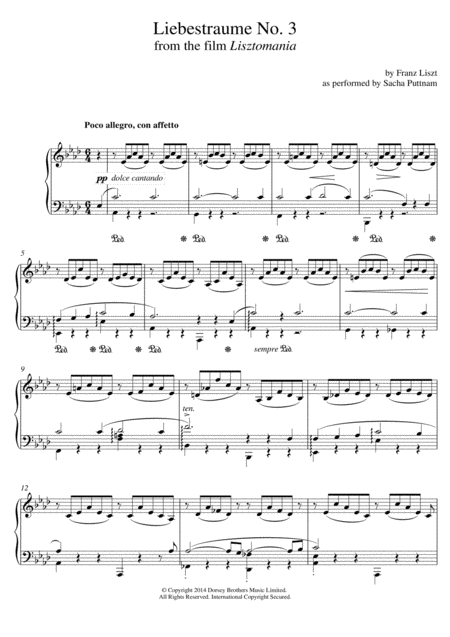 Liebestraume: Notturno No.3 In A Flat: O Lieb, So Lang Du Lieben... (as performed by Sacha Puttnam)