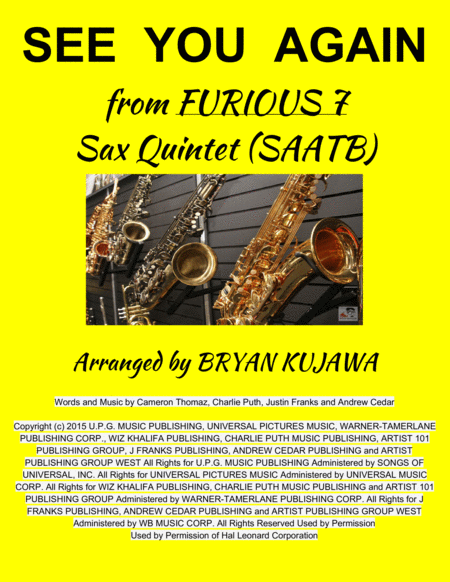 See You Again from FURIOUS 7 - Sax Quintet (SAATB)