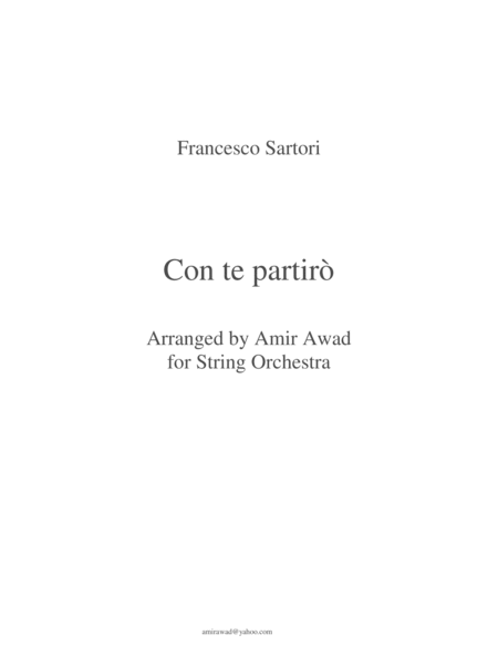 Time To Say Goodbye - Con te partiro ( Arranged for tenor and string orchestra and percussion(optional))
