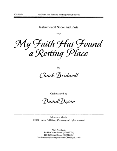 My Faith Has Found a Resting Place - Flute and Rhythm Score and Parts