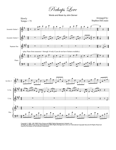 Perhaps Love (Duet for Soprano and Tenor Saxophone)