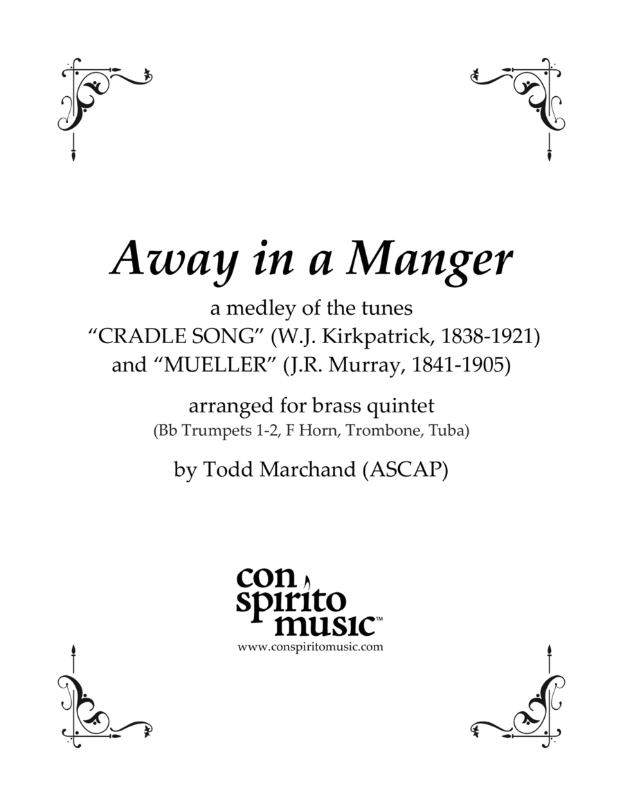 Away in a Manger (a medley of two tunes) — brass quintet