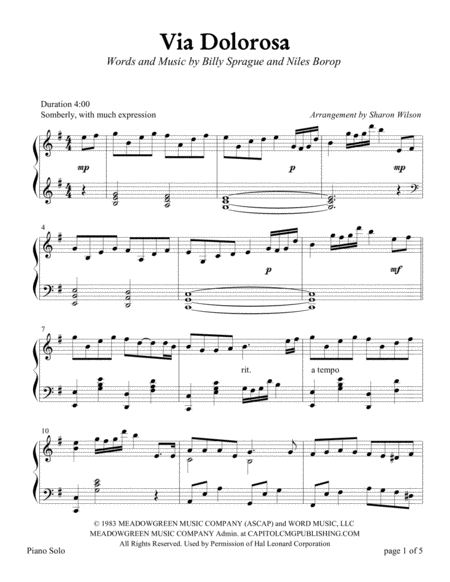 Via Dolorosa (Piano Solo)