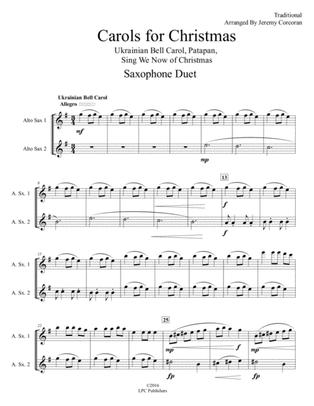 Carols for Christmas A Medley for Two Saxophones