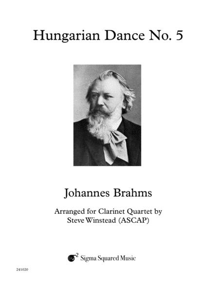 Hungarian Dance No. 5 for Clarinet Quartet or Choir