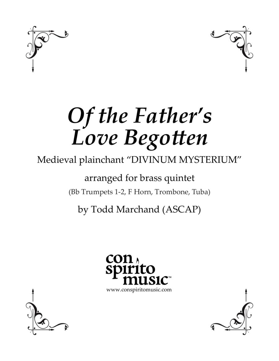 Of the Father's Love Begotten — brass quintet