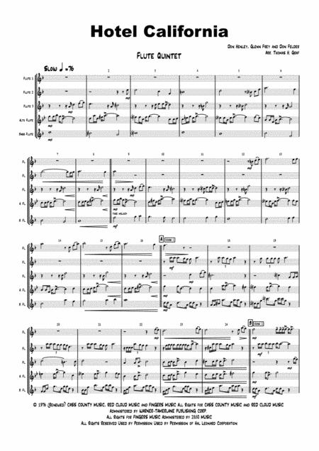 Hotel California - Eagles Classic - Flute Quintet