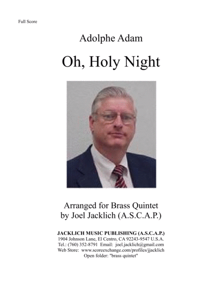 O Holy Night arranged for Brass Quintet