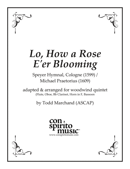 Lo, How a Rose E'er Blooming — woodwind quintet