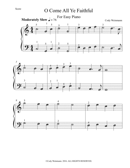 O Come All Ye Faithful For Easy Piano
