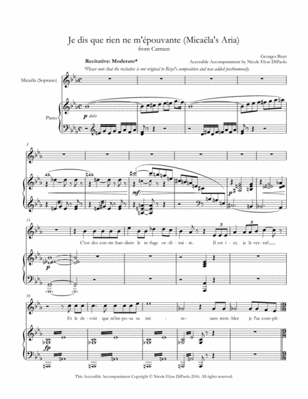 Je dis que rien ne m'épouvante (Micaela's Aria) from Carmen - Accessible Accompaniments Edition