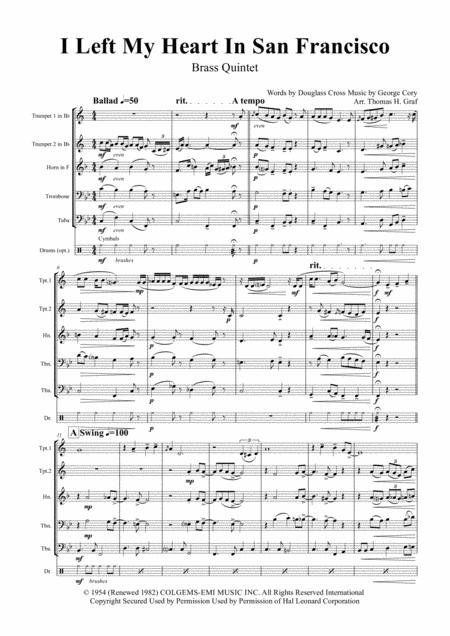 I Left My Heart In San Francisco - Tony Bennet - Brass Quintet