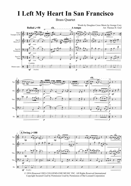 I Left My Heart In San Francisco - Tony Bennett - Brass Quartet